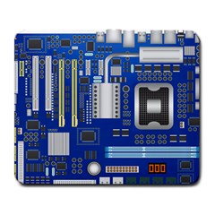 Classic Blue Computer Mainboard Large Mousepads