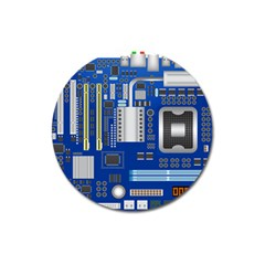 Classic Blue Computer Mainboard Magnet 3  (round)