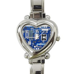 Classic Blue Computer Mainboard Heart Italian Charm Watch