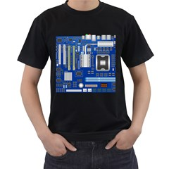 Classic Blue Computer Mainboard Men s T Shirt (black) (two Sided)