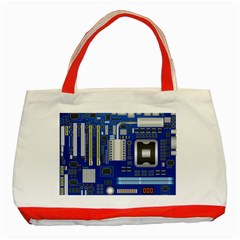 Classic Blue Computer Mainboard Classic Tote Bag (red)