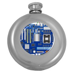 Classic Blue Computer Mainboard Round Hip Flask (5 Oz)