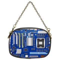 Classic Blue Computer Mainboard Chain Purses (two Sides)