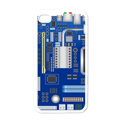 Classic Blue Computer Mainboard Apple Iphone 4 Case (white)