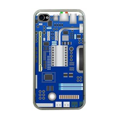 Classic Blue Computer Mainboard Apple Iphone 4 Case (clear)