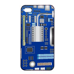 Classic Blue Computer Mainboard Apple Iphone 4/4s Seamless Case (black)