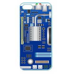 Classic Blue Computer Mainboard Apple Seamless Iphone 5 Case (color)