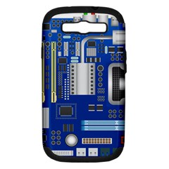 Classic Blue Computer Mainboard Samsung Galaxy S Iii Hardshell Case (pc+silicone)
