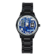 Classic Blue Computer Mainboard Stainless Steel Round Watch