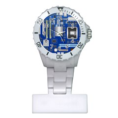 Classic Blue Computer Mainboard Plastic Nurses Watch