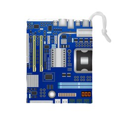 Classic Blue Computer Mainboard Drawstring Pouches (large)