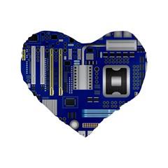 Classic Blue Computer Mainboard Standard 16  Premium Flano Heart Shape Cushions