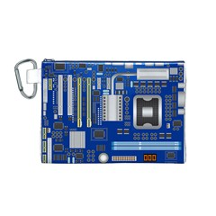 Classic Blue Computer Mainboard Canvas Cosmetic Bag (m)