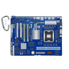 Classic Blue Computer Mainboard Canvas Cosmetic Bag (xl)