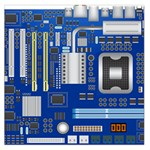 Classic Blue Computer Mainboard Large Satin Scarf (Square) Front