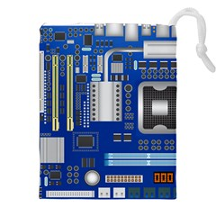 Classic Blue Computer Mainboard Drawstring Pouches (xxl)