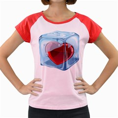 Heart In Ice Cube Women s Cap Sleeve T Shirt