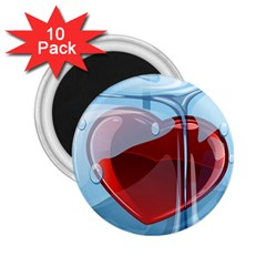 Heart In Ice Cube 2 25  Magnets (10 Pack)