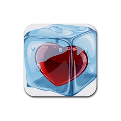 Heart In Ice Cube Rubber Coaster (square)