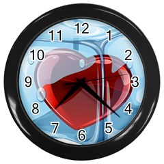 Heart In Ice Cube Wall Clocks (black)