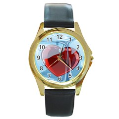 Heart In Ice Cube Round Gold Metal Watch