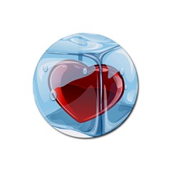 Heart In Ice Cube Rubber Coaster (round)