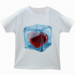 Heart In Ice Cube Kids White T Shirts
