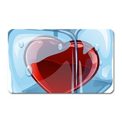 Heart In Ice Cube Magnet (rectangular)