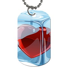 Heart In Ice Cube Dog Tag (one Side)