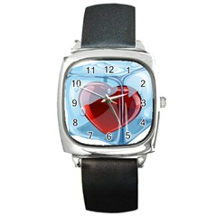 Heart In Ice Cube Square Metal Watch