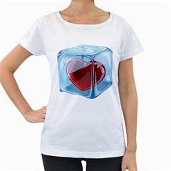 Heart In Ice Cube Women s Loose Fit T Shirt (white)