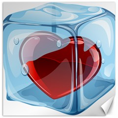 Heart In Ice Cube Canvas 12  X 12