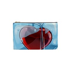 Heart In Ice Cube Cosmetic Bag (small)