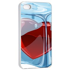 Heart In Ice Cube Apple Iphone 4/4s Seamless Case (white)