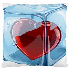 Heart In Ice Cube Large Cushion Case (two Sides)