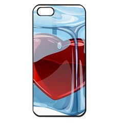 Heart In Ice Cube Apple Iphone 5 Seamless Case (black)
