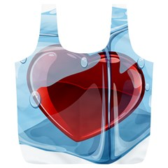 Heart In Ice Cube Full Print Recycle Bags (l)