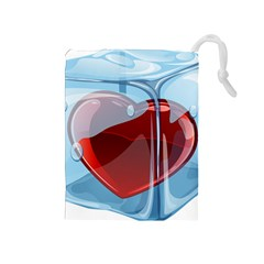 Heart In Ice Cube Drawstring Pouches (medium)