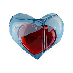 Heart In Ice Cube Standard 16  Premium Flano Heart Shape Cushions