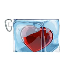 Heart In Ice Cube Canvas Cosmetic Bag (m)