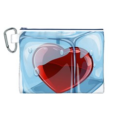 Heart In Ice Cube Canvas Cosmetic Bag (l)