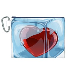 Heart In Ice Cube Canvas Cosmetic Bag (xl)