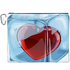 Heart In Ice Cube Canvas Cosmetic Bag (xxxl)