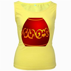 Easter Decorative Red Egg Women s Yellow Tank Top