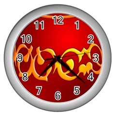 Easter Decorative Red Egg Wall Clocks (silver)