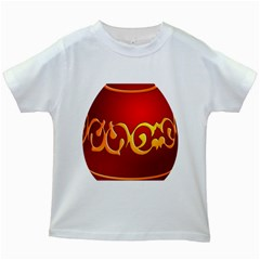 Easter Decorative Red Egg Kids White T Shirts
