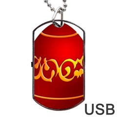Easter Decorative Red Egg Dog Tag Usb Flash (one Side)