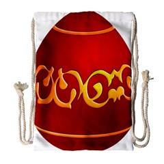 Easter Decorative Red Egg Drawstring Bag (large)