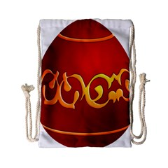 Easter Decorative Red Egg Drawstring Bag (small)