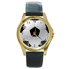 Soccer Ball Round Gold Metal Watch